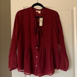 Burgundy Polka Dot Blouse